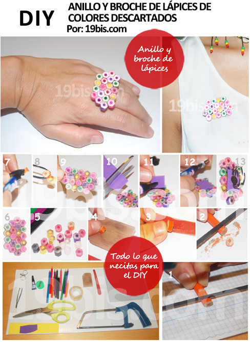 tutorial anillo broche lapices colores