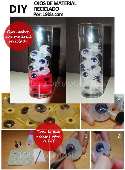 Tutorial diy halloween c mo hacer ojos con material reciclado for Decoracion de espejo con material reciclable