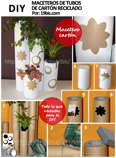 Tutorial diy macetero cart n reciclado - Tubos de carton decorados ...