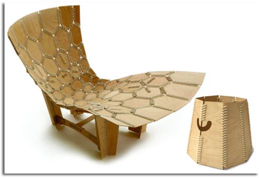 Papelera y silla fabricada con materiales biodegradables, la papelera