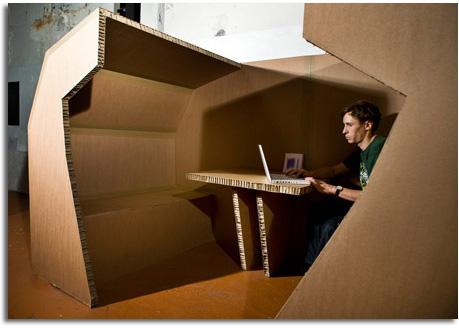 Dise o interior de oficina realizado con cart n for Interior de oficina