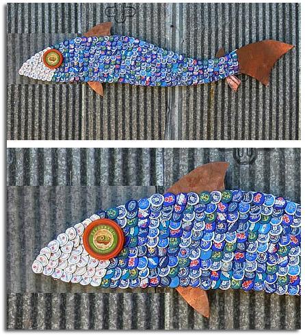 animales de material reciclado. pez realizado con tapas o chapas de botellas