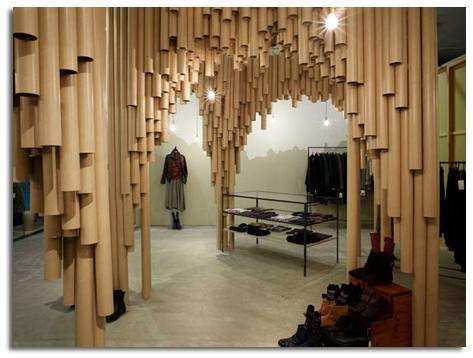 decorar con tubos de cart211n interior de tienda