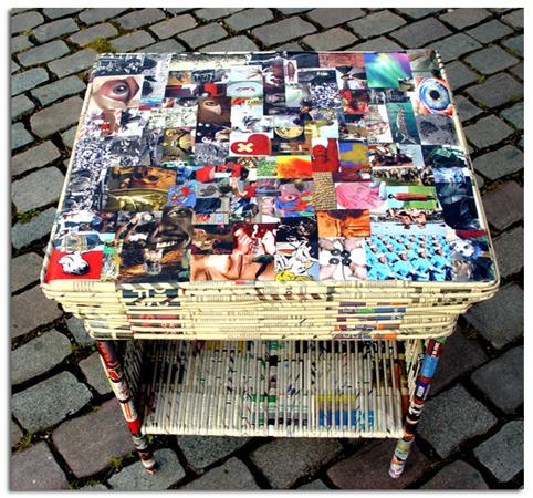 Mesa present de papel reusado collage fotogr fico en for Como reciclar una mesa