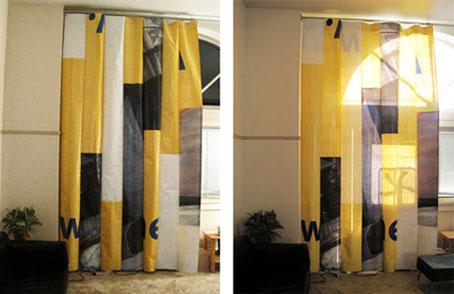 Cortinas hechas con anuncios reciclados objectbis - Cortinas ya hechas ...