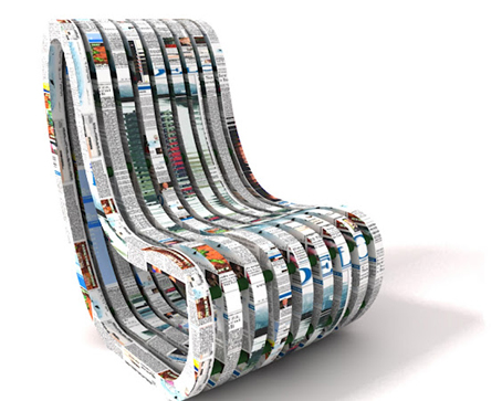 Silla ecol gica de papel reciclado y cola natural - Materiales para tapizar una silla ...