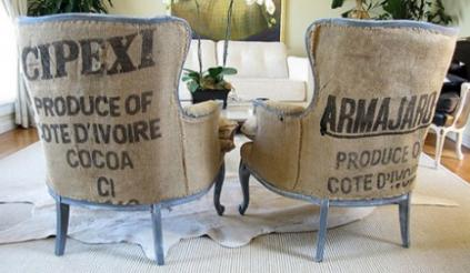 reciclar sacos de cafe para decorar tapizar