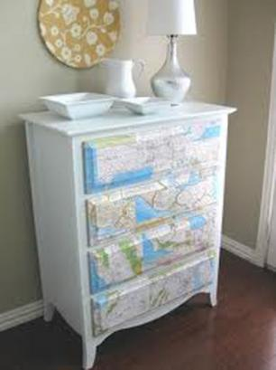 DECORAR CON MAPAS RECICLADOS