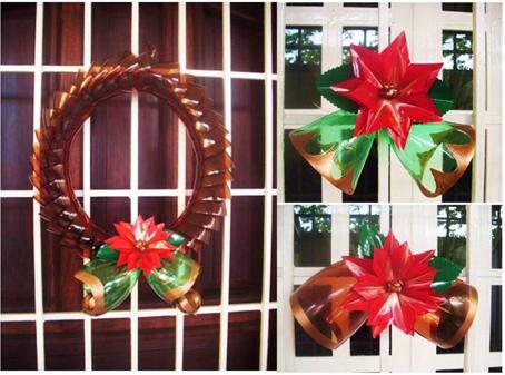 Ideas para confeccionar adornos navide os con botellas de for Elaboracion de adornos navidenos