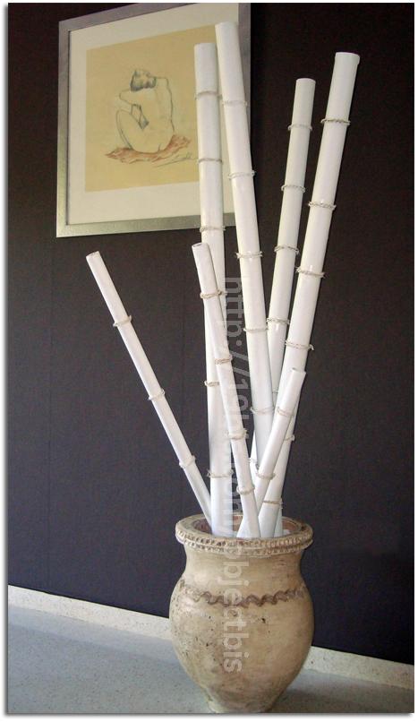 Diy ca as de bamb de cart n reciclado y c amo for Bambu seco para decoracion