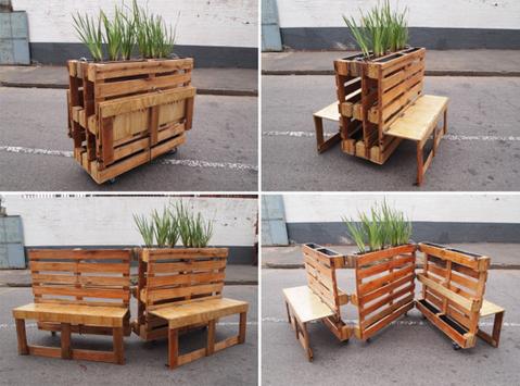 Bancos para espacios p blicos hechos con pallets for Ideas para hacer sillones reciclados