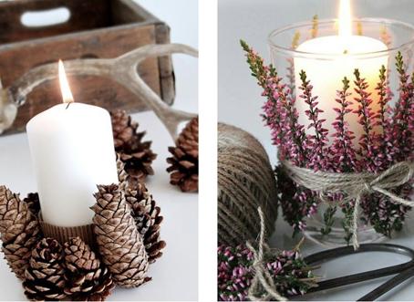 Ideas creativas para decorar mesa de navidad con elementos - Decorar pinas naturales ...