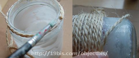 reciclar frasco de cristal cubrir con cuerda