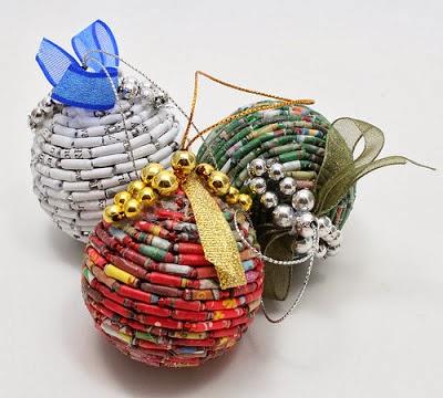15 bolas de material reciclado para decorar rbol de