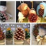 Reciclar piñas para decorar en navidad